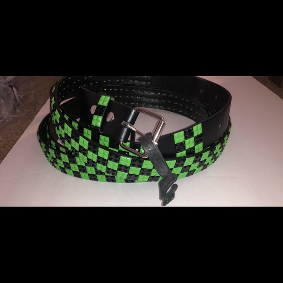 Green Black plastic studded leather belt